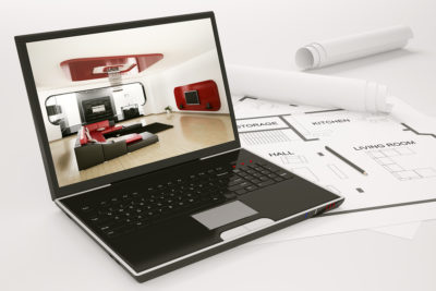 Laptop and blueprint of housing project 3d render